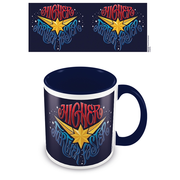 Captain Marvel - Higher Further Faster Blue 11oz/315ml Coloured Inner Mug