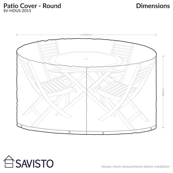 Savisto Large Round All Weather Patio / Garden Outdoor Furniture Cover - Image 4