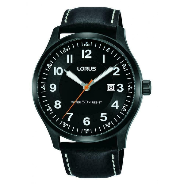 Lorus RH941HX9 Mens Urban Dress Watch with Sunray Dial & Black Leather Strap