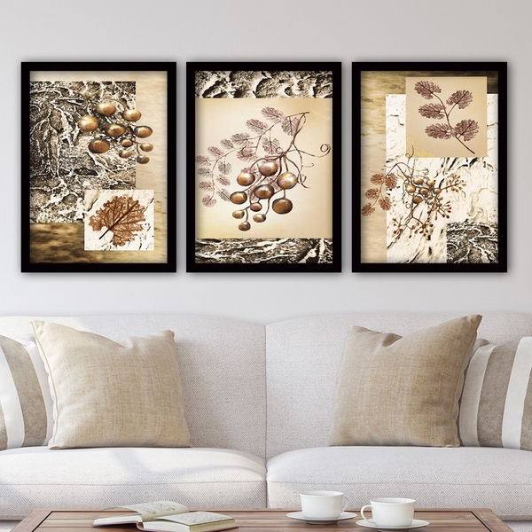 3SC136 Multicolor Decorative Framed Painting (3 Pieces)