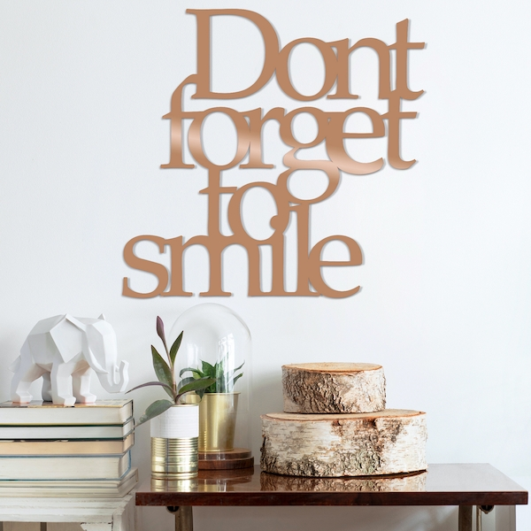 Dont Forget To Sm?le - Copper Copper Decorative Metal Wall Accessory