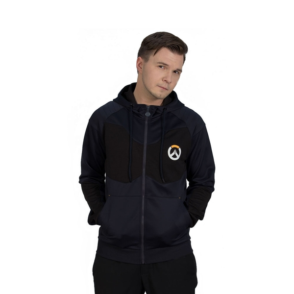 Overwatch - Athletic Tech Men's Small Full Length Zipper Hoodie - Black/Blue