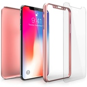 Apple iPhone X Shockproof Hybrid 360 With Glass Screen Protector - Rose Gold