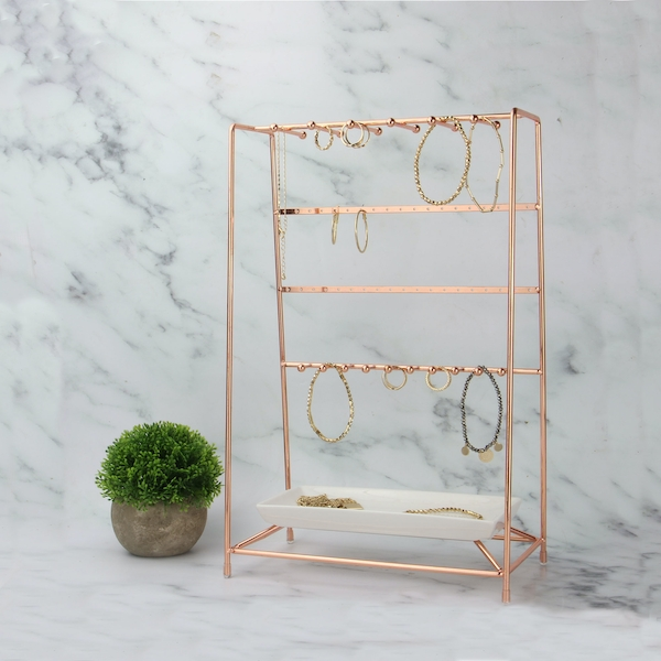Rose Gold Jewellery Stand With Ceramic Dish M W Roov