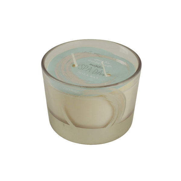 Candlelight Spa Day Revitalise 2 Wick Wax Filled Glass Candle Pot Green Tea Scent