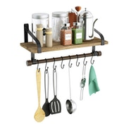 Rustic Wooden Shelf with Rail and Hooks