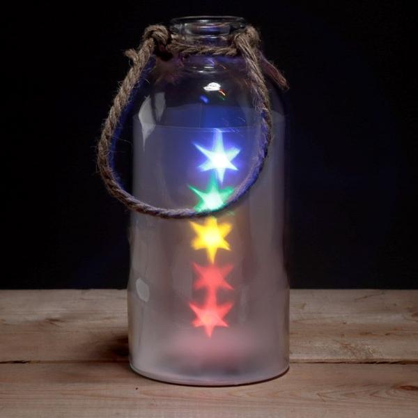 Decorative Glass Jar with Multicoloured LED Star Lights & Rope