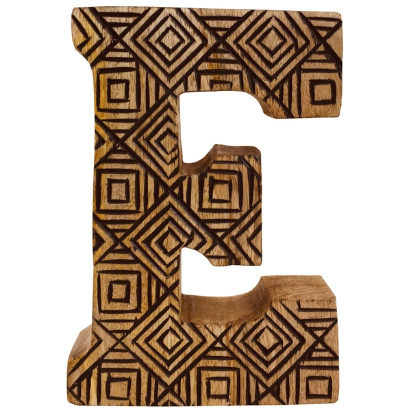 Letter E Hand Carved Wooden Geometric