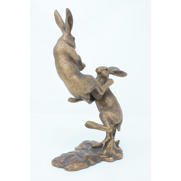 Reflections Fighting Hares Figurine By Lesser & Pavey