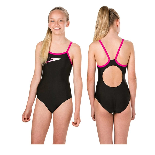 Speedo Boom Placement Muscleback Swimsuit Junior Black/Pink/Zest 28""