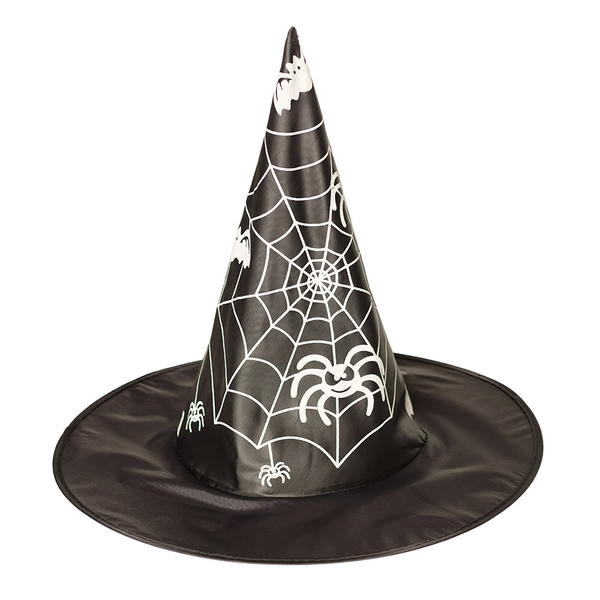 Witch Hat With Spiderwebs Adults (Black)