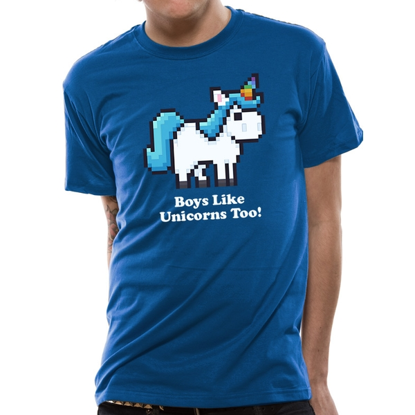 CID Originals - Boys Like Unicorns Men's Small T-Shirt - Blue