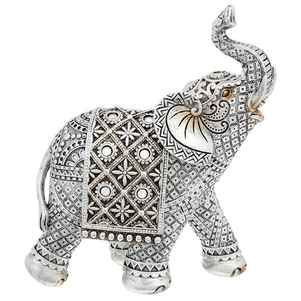 Silver Diamond Elephant Large Ornament