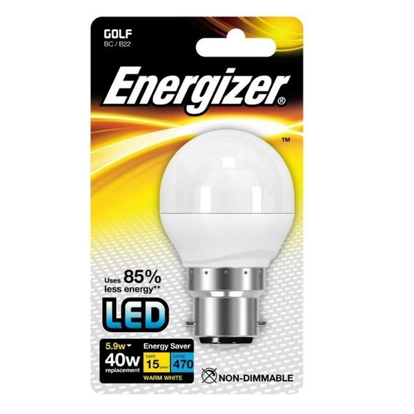 Energizer B22 Warm White Blister Pack Golf 5.2w  470lm