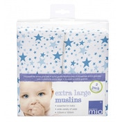 Bambino Mio  Extra Large Muslins Blue Stars 2 Pack 120 x 120cm