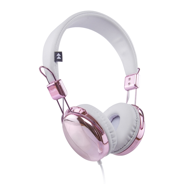 Groov-e FLASH-ON-RGW Flash-On Metallic Headphones - Rose Gold/White