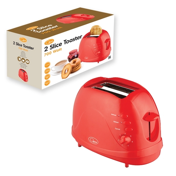 Quest 2 Slice Toaster Red UK Plug