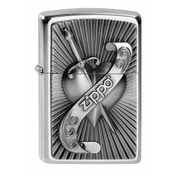Zippo Unisex Adult Heart With Sword Emblem Windproof Pocket Lighter Chrome