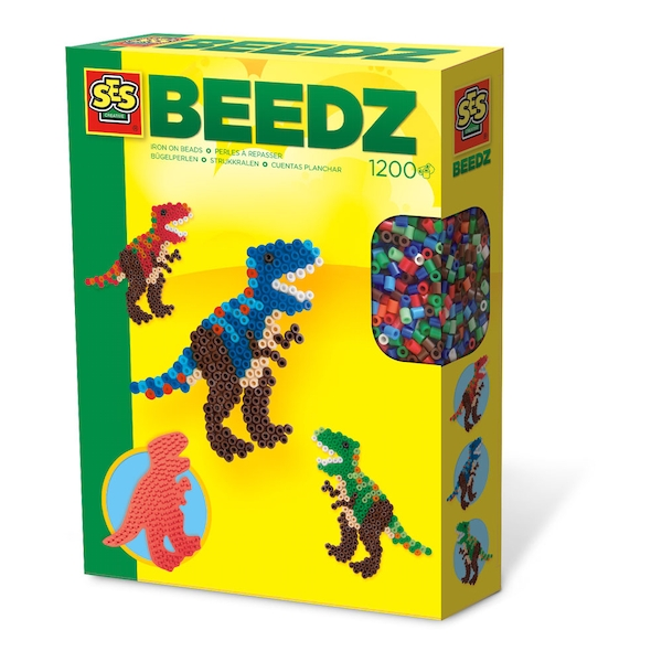 SES Creative - Children's Beedz T-Rex Iron-on Beads Mosaic Set 1200 Iron-on Beads (Multi-colour)