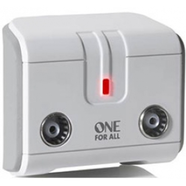 One for All 2 Way TV Signal Booster/Splitter UK Plug