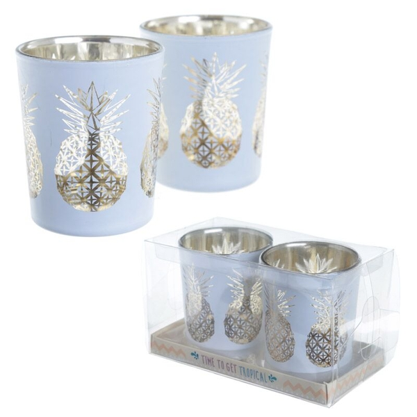 Tropical Fruit Set of 2 Glass Candleholder