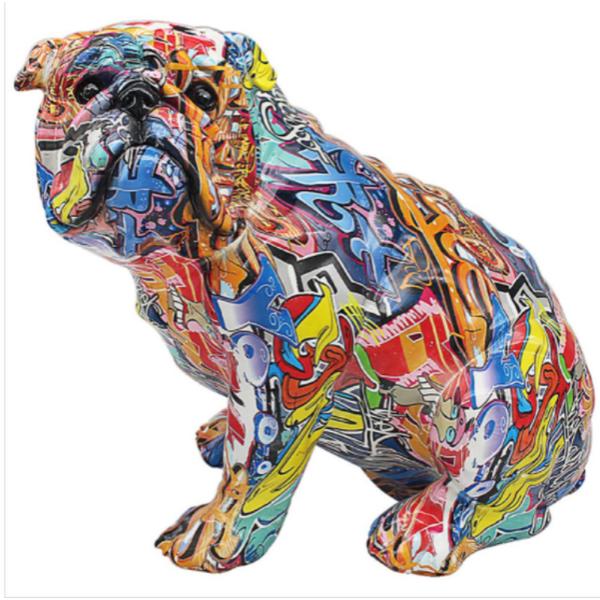 Graffiti Sitting Bulldog Figurine By Lesser & Pavey