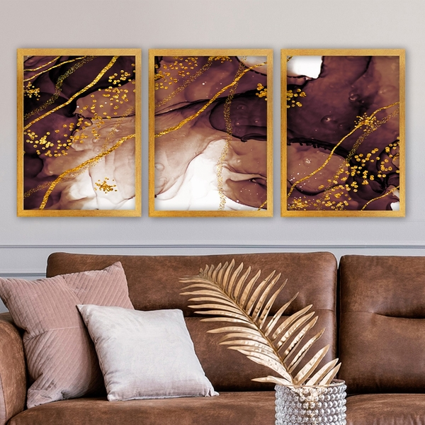 3AC173 Multicolor Decorative Framed Painting (3 Pieces)
