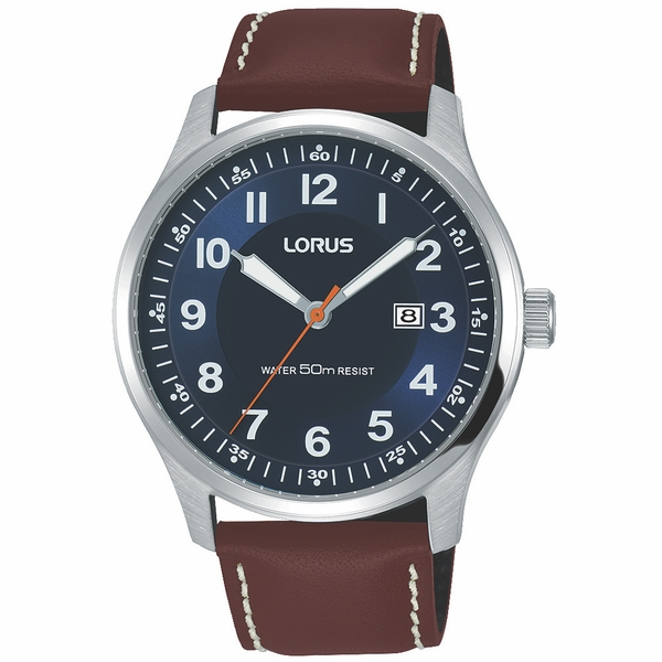 Lorus RH943HX9 Mens Classic Brown Leather Strap Watch with Contrast White Stitching