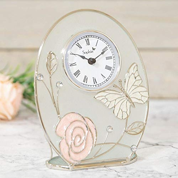 Sophia Glass & Wire Clock with Butterfly