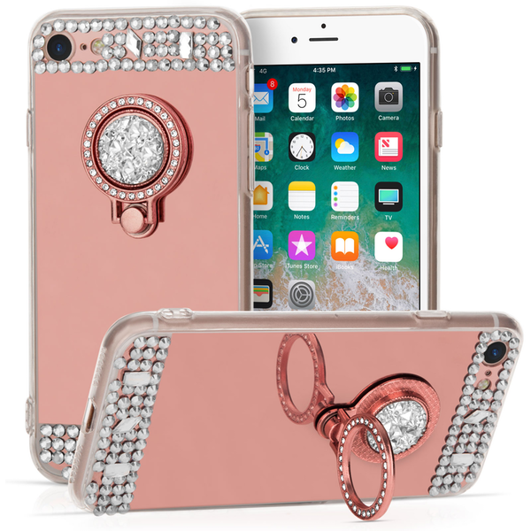 Compare prices with Phone Retailers Comaprison to buy a Apple iPhone 8 Mirrored Bling Ring Stand Case - Rose Gold