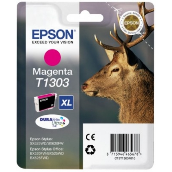 Epson C13T13034012 (T1303) Ink cartridge magenta, 600 pages, 10ml