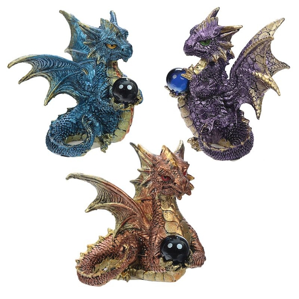 Elements Crystal Enchanted Nightmare Dragon Figurine (1 Random Supplied)