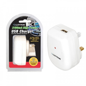 Lloytron 2.1A USB Wall Charger White UK Plug