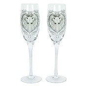 Pair of Anne Stokes Unicorn Champagne Glasses