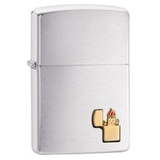 Zippo Emblem Brushed Chrome Regular Lighter