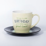 Thumbs Up! L&M Mug and Saucer Set Birthday