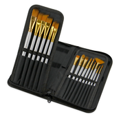 15 Piece Artists Paint Brush Set & Case | Pukkr