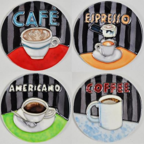 Set of 4 Ceramic Coasters By Anastasia Rici