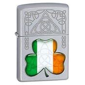 Zippo Irish Flag Shamrock Silver Windproof Lighter