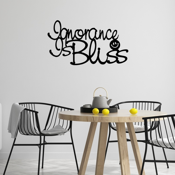 Ignorance Is Bliss Black Decorative Metal Wall Accessory