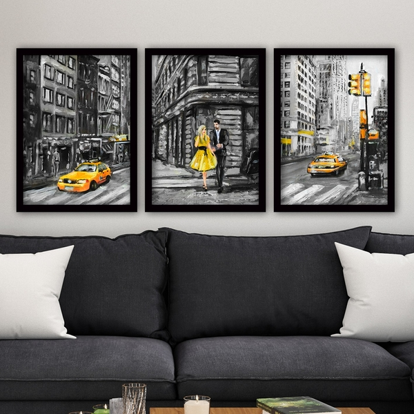3SC150 Multicolor Decorative Framed Painting (3 Pieces)