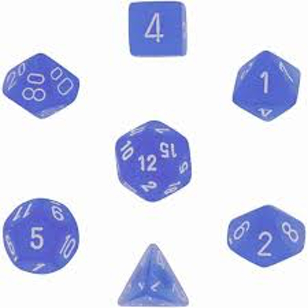 Chessex Poly 7 Dice Set: Frosted Blue/white