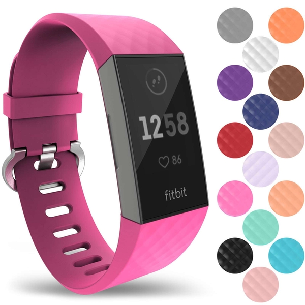 YouSave Activity Tracker Silicone Sports Strap - Hot Pink (Small)