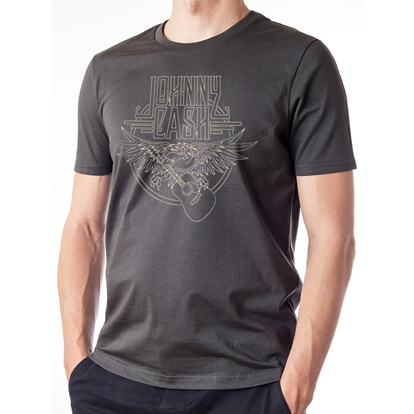 Johnny Cash - Outline Eagle Guitar Men's Small T-Shirt - Grey