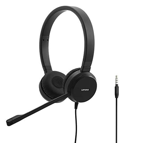 Lenovo Pro Wired Stereo VOIP Headset - Headset - on-ear - wired - black - for ThinkBook 13, 14, 15, ThinkPad E15, P53, T490, X1 Carbon (7th Gen), X1 Yoga (4th Gen), V14