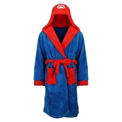 Nintendo Super Mario Bros Men's Large/XL Mario Bath Robe with Hood Blue/Red