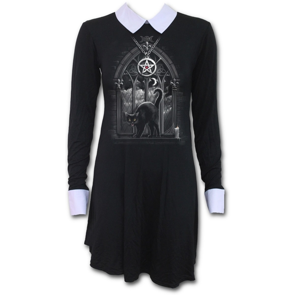 Witch Nights Women's Large Peterpan Collar Baby Doll Long Sleeve Dress - Black