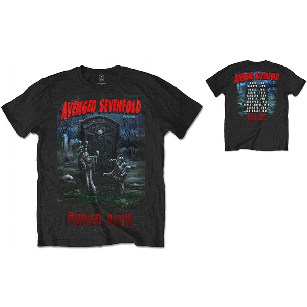 Avenged Sevenfold Buried Alive Tour 2012 with Back Printing  Men's Large T-Shirt - Black