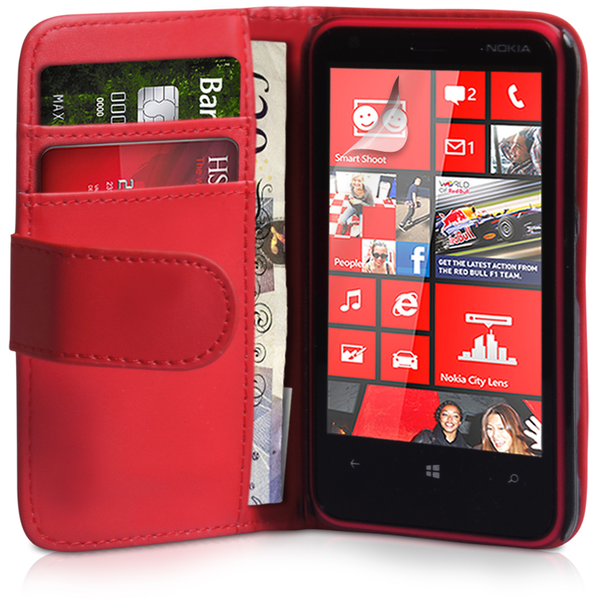 YouSave Accessories Nokia Lumia 620 Leather-Effect Wallet Case - Red
