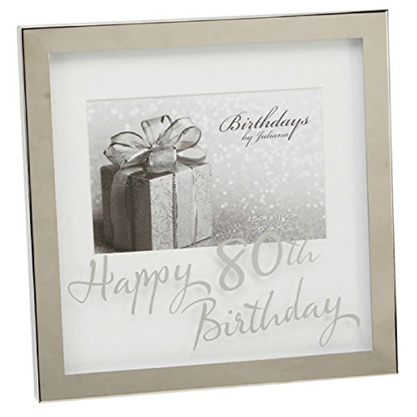 "6"" x 4"" - Birthdays by Juliana Silverplated Box Frame - 80th"
